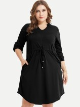 Plus Size Casual Solid Long Sleeve Short Dress