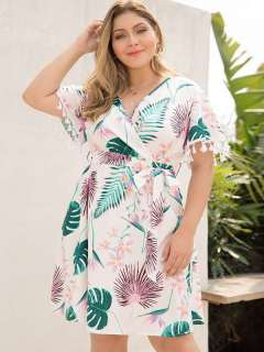 Plus Size White Floral Print Tassels Boho Short Dress