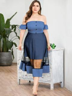 Plus Size Bandeau Solid Mesh Strapless Denim Dress