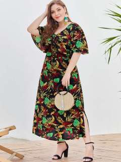 Plus Size Black Floral Print Boho Long Maxi Dress