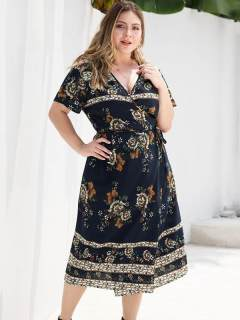 Plus Size Navy Floral Print Beach Long Dress