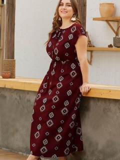 Plus Size Geometric Print Boho Maxi Dress