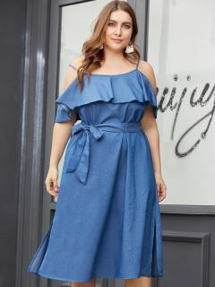 Plus Size Solid Ruffles Lacing Long Slip Denim Dress