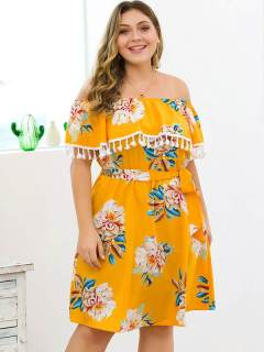 Plus Size Yellow Floral Tassels Short Strapless Dress
