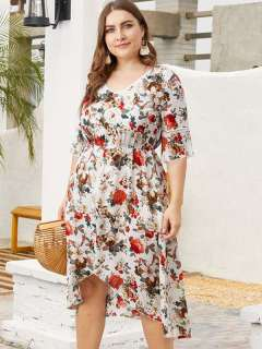 Plus Size White Floral Print High Low Boho Dress