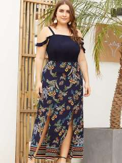 Plus Size Navy Floral Print High Slit Maxi Slip Dress