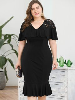 Plus Size Black Solid Ruffles Prom Bodycon Dress