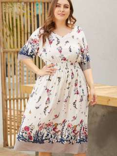 Plus Size White V Neck Floral Print Beach Long Dress