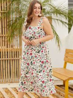 Plus Size Floral Print Ruffles Boho Long Maxi Slip Dress