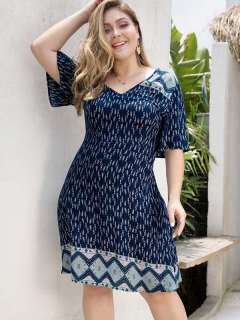 Plus Size Navy V Neck Print Beach Short Dress