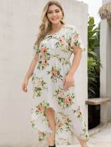 Plus Size White Floral High Low Beach Dress