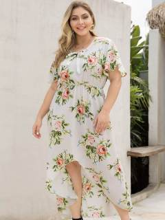 Plus Size White Floral Print High Low Beach Long Dress