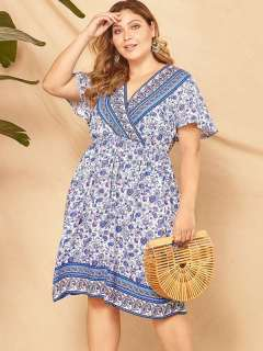 Plus Size Floral Print Boho Beach Short Dress