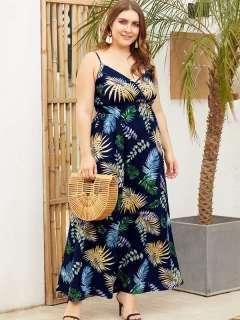 Plus Size Navy Floral Print Beach Maxi Slip Dress