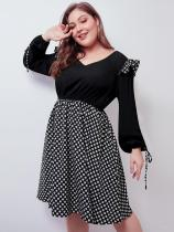 Plus Size Black Polka Dots Ruffles A Line Dress