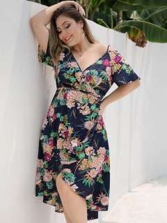 Plus Size Navy Floral High Low Boho Long Dress