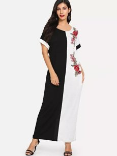 Color Block Embroidered Maxi Dress