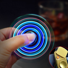 Gyro Toy Fingertip Gyroscope Lighter USB Charging Windproof Turbo Lighters Hand Spinner Lighter Rechargeable Electronic Plasma