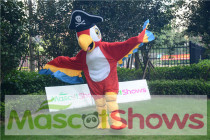 Pirate Red Parrot Mascot Costume For Halloween Party