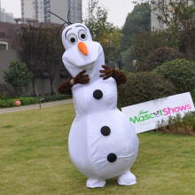 Smiling Adult Olaf Mascot Costume Cartoon Character Costume Snowman Clothing Christmas Party Suit