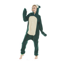Adorable Cartoon Pokemon Snorlax Kigurumi Fleece Onesie Jumpsuit Costume Adult Pajamas Cosplay Halloween Carnival Green Sleepwear