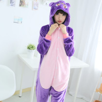 Funny Flannel Cat Kigurumi Animal Men Purple Onesie Jumpsuit Adult Carnival Pajamas For Women Suit Sleepwear Halloween Cosplay