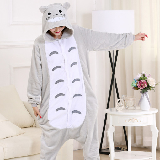 Adorable Cartoon Totoro Onesie For Women Men Pajamas Night-suit Set At Home Party Adult Kigurumi For Halloween Cosplay XXL