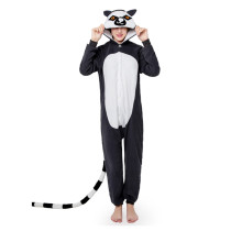 Funny Lemur Kigurumi Black Polar Fleece Long Tail Onesie Jumpsuit Costume Adult Pajamas Cosplay Halloween Carnival Masquerade