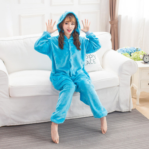 Flannel Cookie Monster Kigurumi Cartoon Onesie Jumpsuit Adult Blue Sesame Street Pajamas For Women Sleepwear Cosplay Halloween