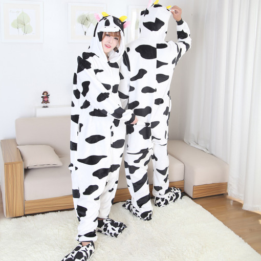 Couple Dairy Cattle Kigurumi Cow Onesie Animal Jumpsuit Sleepwear For Adult Pajamas For Halloween Pyjamas Suits Home Party