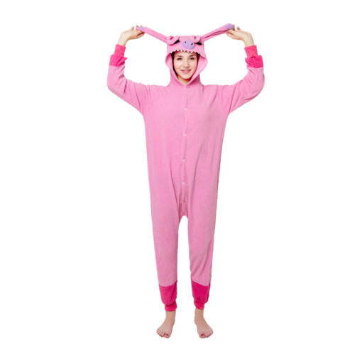 Funny Stitch Splicing Kigurumi Pink Polar Fleece Cosplay Onesie Costume Pajamas Halloween Carnival Masquerade Party Jumpsuit