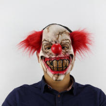 Halloween Scary Clown Latex Mask Big Mouth Red Hair Nose Full Face Halloween Party Props