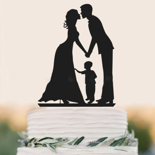 Family Style Topper Bride and Groom Rustic Wood Wedding Cake Toppers with Kids Boy Cake Decorations