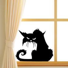 Creative Halloween Black Cat PVC Waterproof Wall Sticker Removable Vinyl Art Mural Decoration Stickers Environmental Protection Halloween Wall Sticker Window Home Decoration Decal Décor