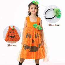 Halloween Kid Girls Pumpkin Fancy Dress Costume with Headwear - Orange