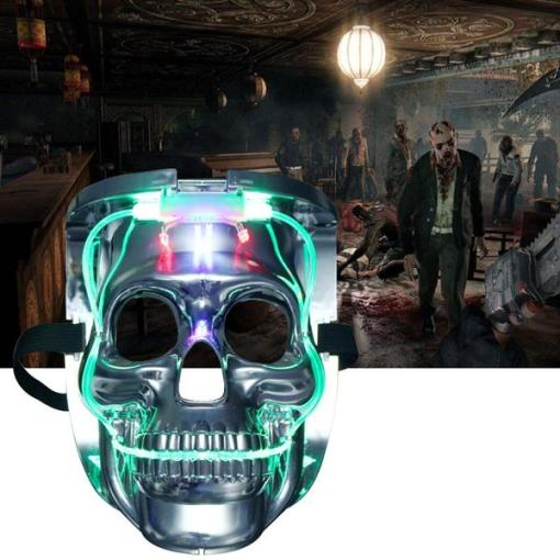 Silver Light Up LED Skeleton Skull Rave Mask Halloween Cosplay Costume Party