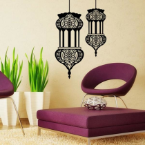 Halloween Islamic Lantern Wall Stickers Muslim Pattern Art Wall Decals Home Mural Sofa Wall Décor