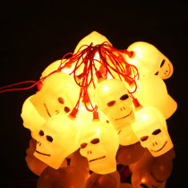 16 LED Halloween LED Flashing Skull Heads String Lights 220V