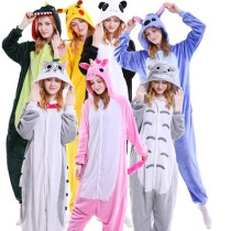 Kawaii Flannel Pijama kigurumi For Women Pokemon Pikachu Onesie Adult Totoro Sleepwear Couple Pyjamas Halloween Party Jumpsuit