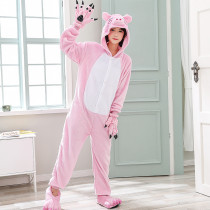 Soft Pink Pig Onesie Women Pajamas For Night-suit Set At Home Adult Kigurumi For Halloween Cosplay Costume Winter Sleepwear
