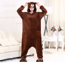 Cartoon Character Brown Bear Kigurumi Flannel Adult Onesie Pajamas Brown Bear For Women Cosplay Sleepwear Men At Home Parties