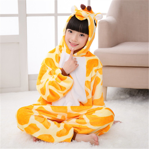 Flannel Giraffe Kigurumi Animal Jumpsuit For Adult Onesie Pajamas Kids One-Piece Sleepwear Pyjamas Cosplay Carvinal Party