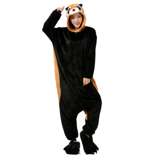 Adorable Raccoon Animal Kigurumi For Adults Pajamas Women Onesie Winter Sleepwear Men Night-Suit Set Flannel Nightie Cosplay