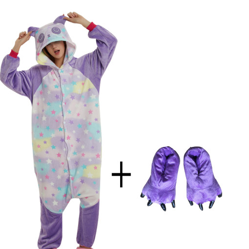 More Cheap Star Pattern Panda Onesie With Slipper Kigurumi Costume Animal Adult Pajama For Halloween Men Cosplay Carnival Party