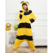Lovely Yellow Bee Pajamas For Adult Party Festival Soft Women Flannel Onesie Cartoon Jumpsuit Kigurumi Costume Winter Sleep Suit