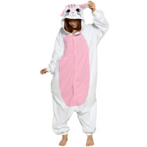 Cute White Cat Onesie Kigurumi Soft Animal Costume Women Jumpsuit For Adult Pyjamas Sleepwear Halloween Kitty Pajamas Cosplay