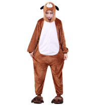 Adult Kigurumi Brown Dog Onesie Flannel One-Piece Pajamas Animal Doggie Sleepwear Women And Men For Halloween Cosplay Onsie