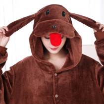 New Brown Teddy Dog Kigurumi Thick Flannel Animal One-Piece Pajamas For Onesie For Adults Cosplay Party Costume Pyjamas Suit