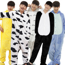 Funny Flannel Cartoon Kigurumi For Men Minions Panda Shark Animal Onesies Adult Jumpsuit Pyjamas Cat Cosplay Party Costume