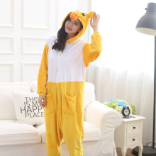 Adorable Yellow Duck Kigurumi Flannel Animal One-Piece Pajamas For Halloween Onesie For Adults Cosplay Party Costume Sleepwear